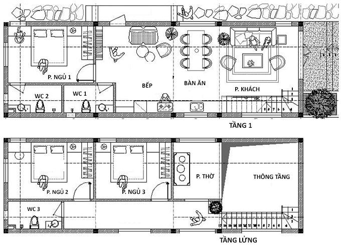 Bản vẽ công năng nhà cấp 4 có gác lửng 5x20m