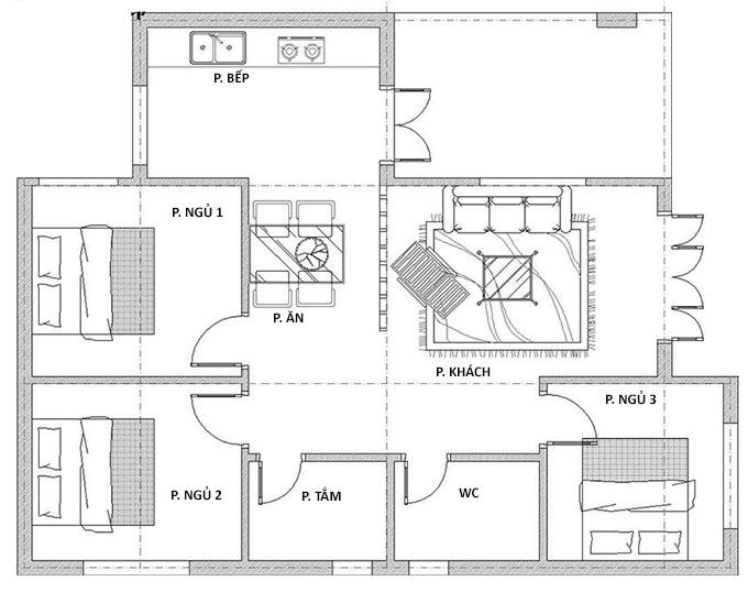 Mặt bằng nhà cấp 4 mái bằng 3 phòng ngủ