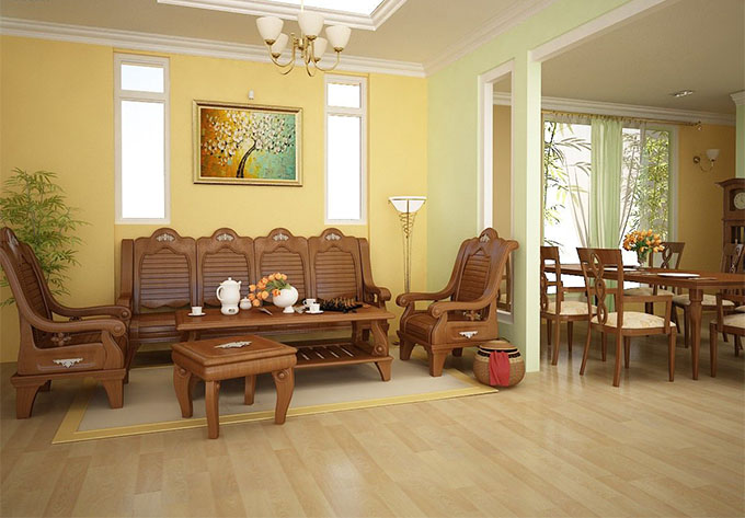 Phòng khách + Khu ăn Nhà cấp 4 mái bằng 3 phòng ngủ
