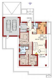 Mặt bằng nhà cấp 4 mái tôn 3 phòng ngủ