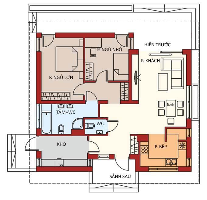 Bản vẽ công năng nhà cấp 4 đẹp có 2 phòng ngủ
