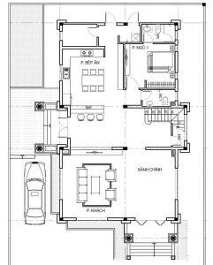 Mặt bằng tầng 1 mẫu biệt thự 2 tầng mái thái hiện đại