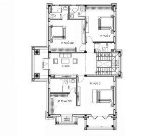 Mặt bằng tầng 2 mẫu biệt thự 2 tầng mái thái hiện đại