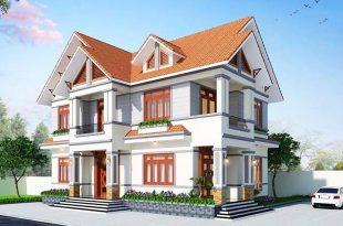Tổng quan phối cảnh kiến trúc mẫu nhà biệt thự 2 tầng mái thái đẹp