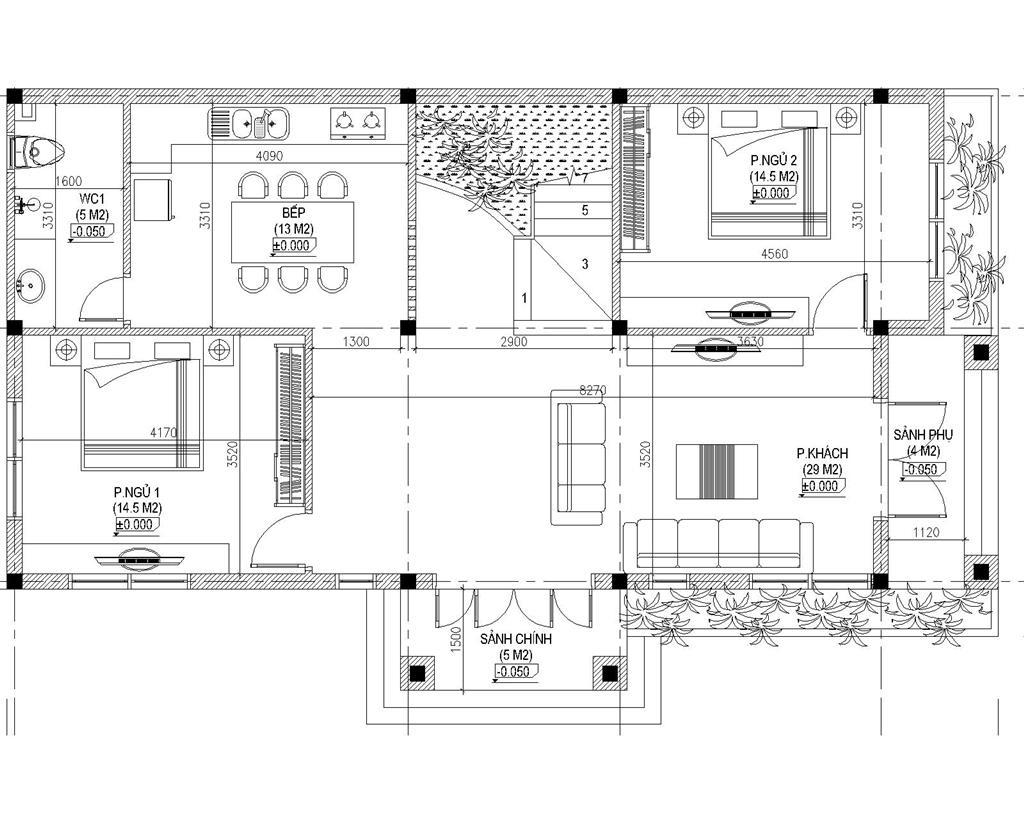 Mặt bằng công năng tầng 2 mẫu biệt thự 2 tầng
