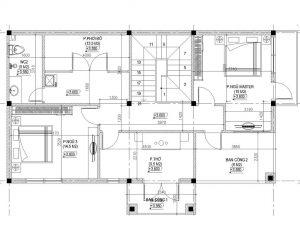 Mặt bằng tầng 1 mẫu biệt thự 2 tầng 2 mặt tiền
