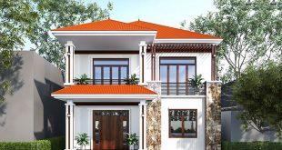 Mẫu nhà 2 tầng mái thái hiện đại mặt tiền 9m