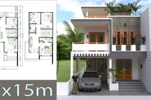 Mẫu nhà phố 2 tầng 7x15m 4 phòng ngủ