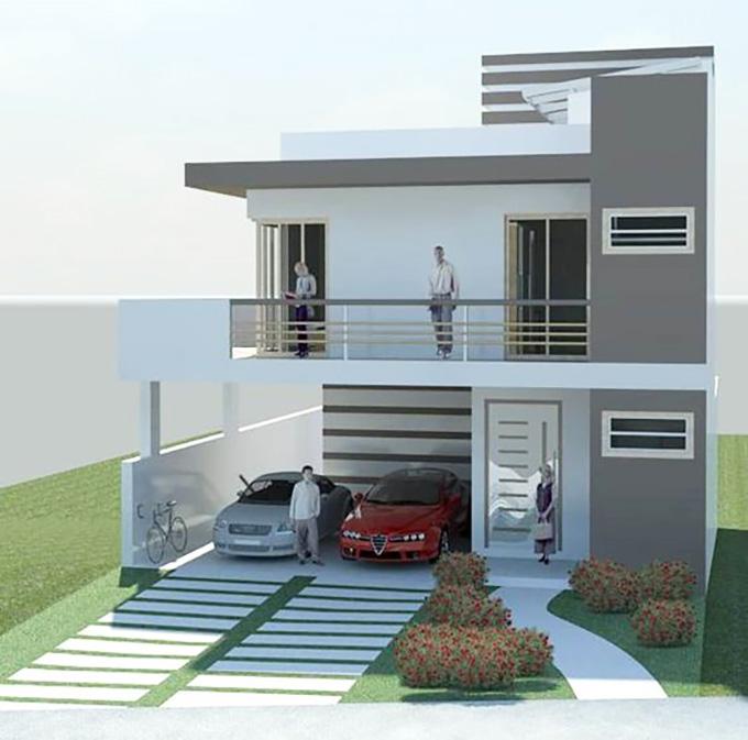 Mẫu 16: mẫu thiết kế nhà 2 tầng mặt tiền 6m