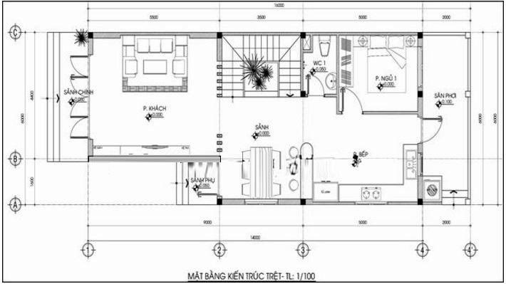 Mặt bằng công năng tầng 1 của mẫu nhà phố 2 tầng 5 × 15