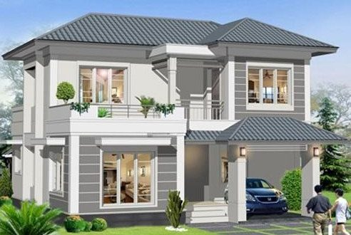 Mẫu thiết kế biệt thự 2 tầng mái thái
