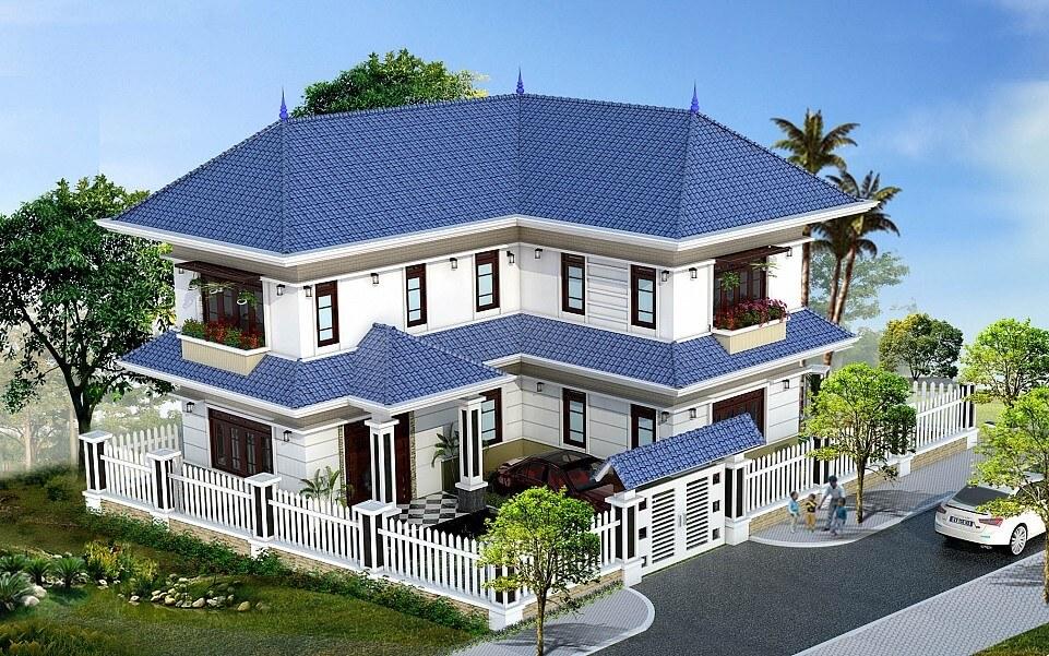 Phối cảnh tổng thể của mẫu biệt thự 2 tầng mái thái