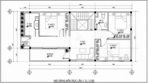 Mặt bằng công năng tầng 2 nhà của mẫu phố 2 tầng 5 × 15