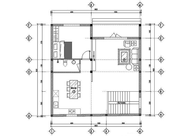 Mặt bằng công năng tầng 1 của mẫu nhà 2 tầng mái thái hiện đại