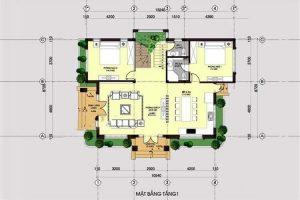 Thiết kế tầng 1 mẫu nhà biệt thự mini 2 tầng 80m2
