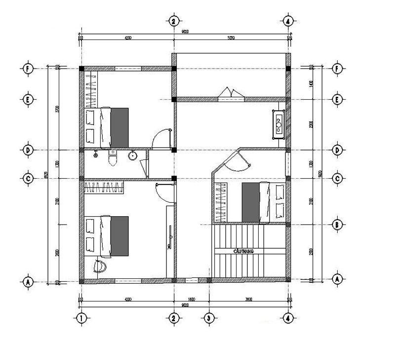 Mặt bằng công năng tầng 2 của mẫu nhà 2 tầng mái thái hiện đại