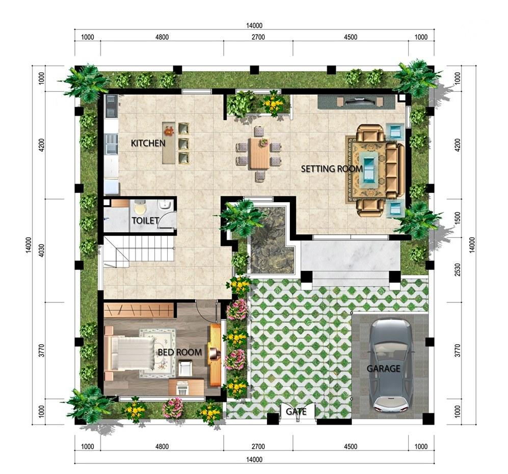 Mặt bằng tầng 1 của biệt thự 3 tầng mái thái hiện đại