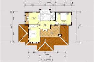 Thiết kế tầng 2 mẫu nhà biệt thự mini 2 tầng 80m2