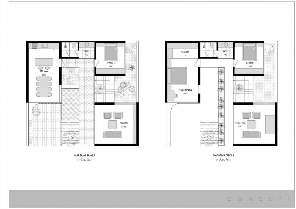 Phương án bố trí mặt bằng biệt thự 2 tầng 90m2