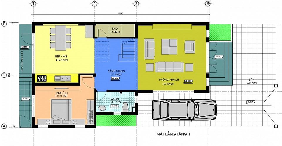 Mặt bằng công năng tầng 1 biệt thự 3 tầng 5 phòng ngủ