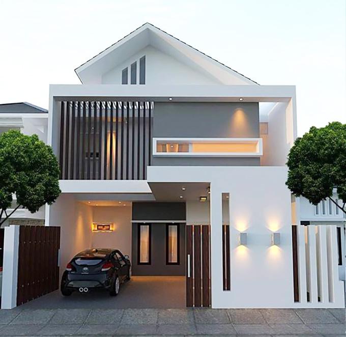Mẫu 4: mẫu thiết kế nhà 2 tầng mặt tiền 6m
