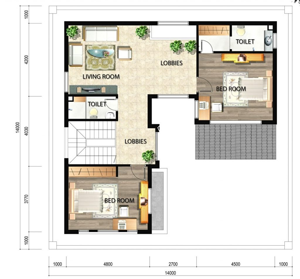Mặt bằng tầng 2 của biệt thự 3 tầng mái thái hiện đại