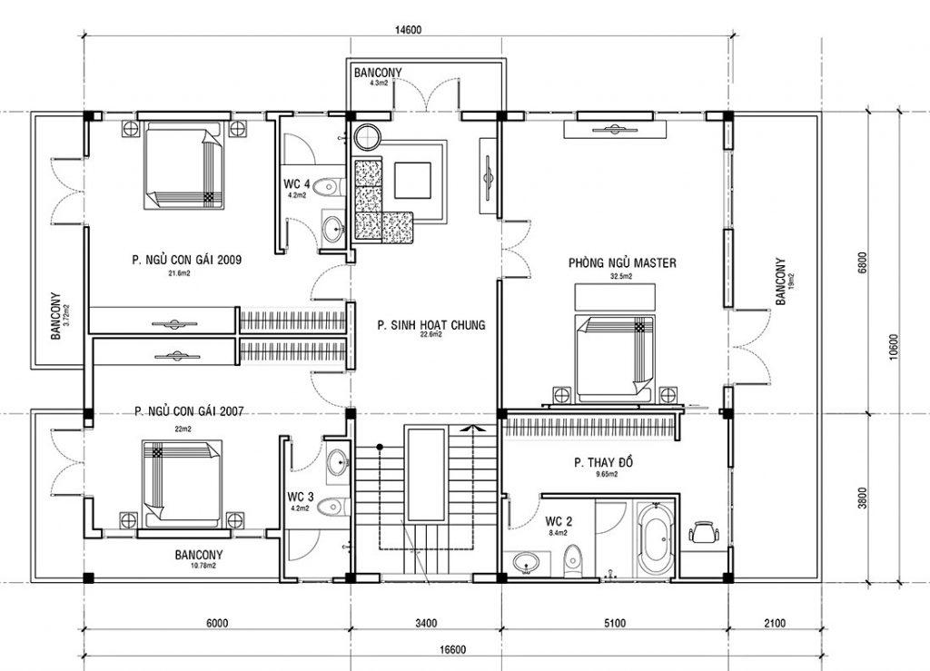 Mặt bằng tầng 2, biệt thự 3 tầng, 5 phòng ngủ