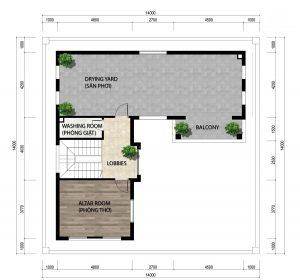 Mặt bằng tầng 3 của biệt thự 3 tầng mái thái hiện đại