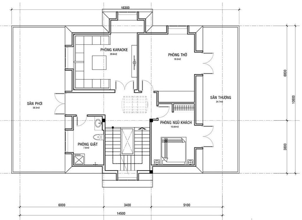 Mặt bằng tầng 3 biệt thự 3 tầng 5 phòng ngủ