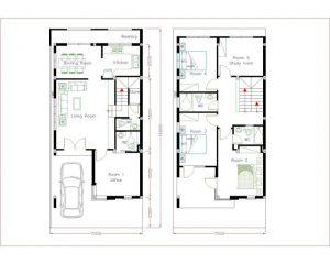 Mặt bằng nhà phố 2 tầng 7x15m 5 phòng ngủ