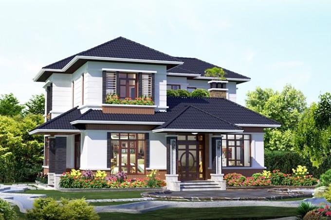 Phong cách tân cổ điển cũng được sử dụng phổ biến khi xây dựng nhà vườn 2 tầng