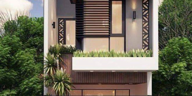 Mẫu nhà phố hiện đại 2 tầng 4x15m có 2 phòng ngủ - Phối cảnh kiến trúc mặt tiền