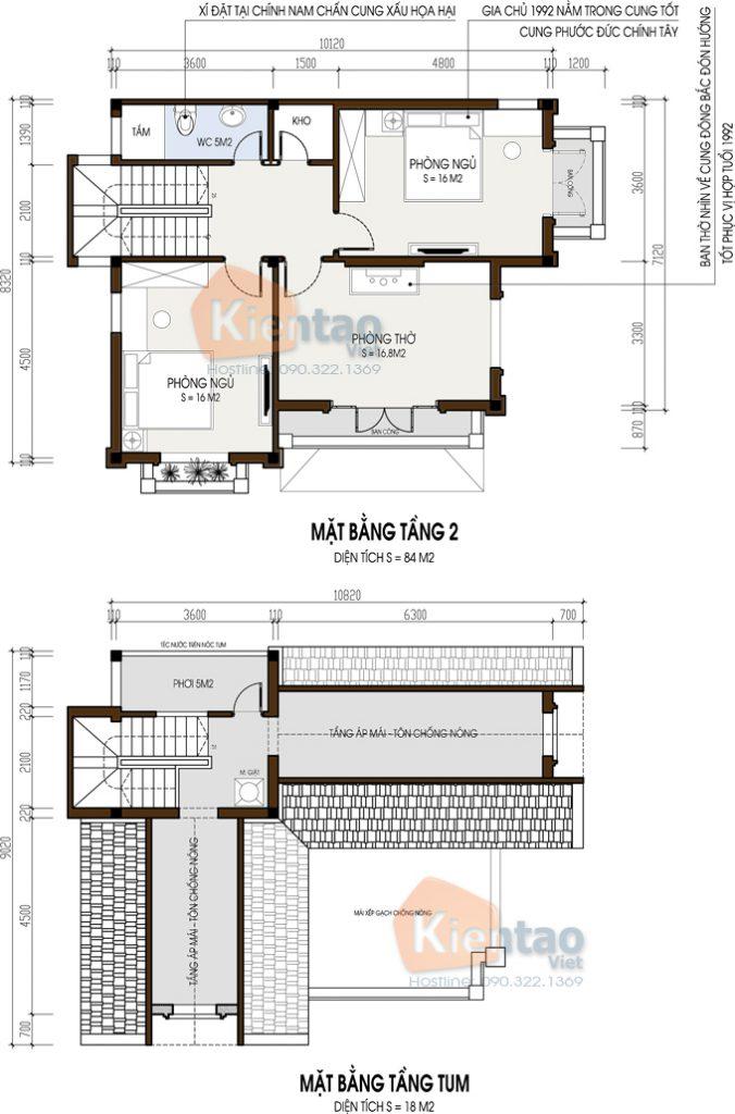 Mẫu biệt thự 2 tầng 86m2 cho vùng nông thôn- mặt bằng 02