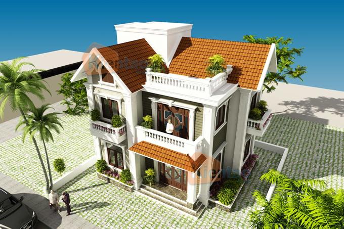 mẫu nhà biệt thự 2 tàng 86m2 cho vùng nông thôn