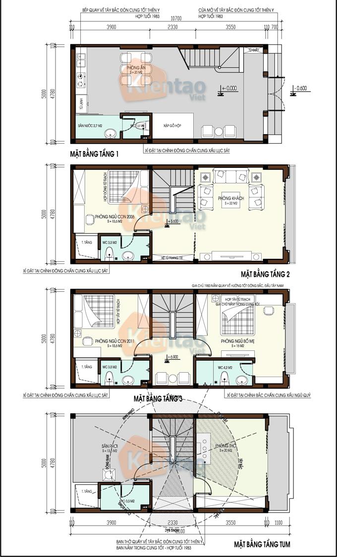 Mặt bằng công năng mẫu nhà ống, Nhà phố 4 tầng 5x10m phong cách tân cổ điển