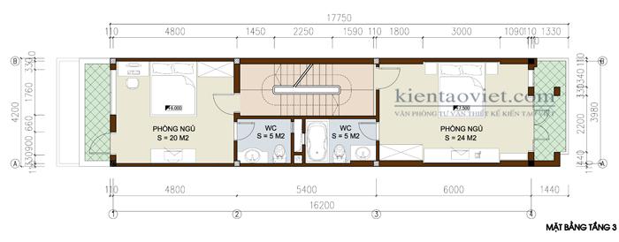 Mặt bằng tầng 3+4 - Mẫu nhà ống lệch tầng hiện đại 5x16m cao 5 tầng