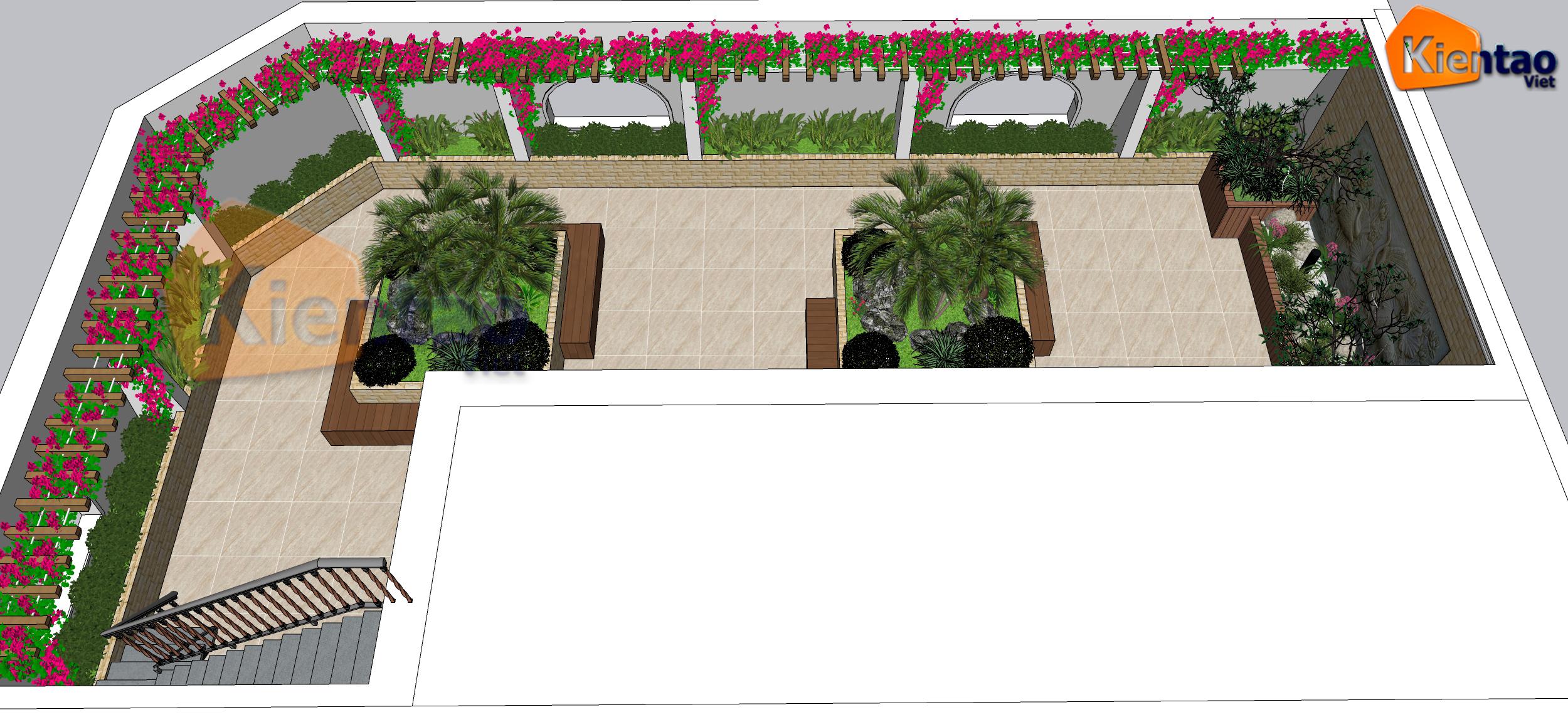 Mẫu vườn sân thượng 55m2 nhà ống lô góc - Phối cảnh 01