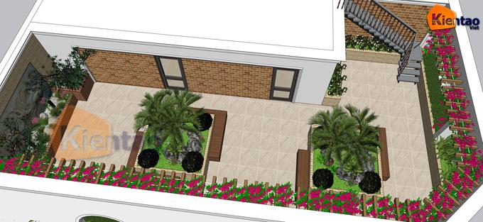 Mẫu vườn sân thượng 55m2 nhà ống lô góc - Phối cảnh 02