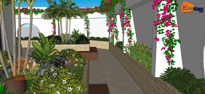 Mẫu vườn sân thượng 55m2 nhà ống lô góc - Phối cảnh 04