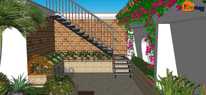 Mẫu vườn sân thượng 55m2 nhà ống lô góc - Phối cảnh 03