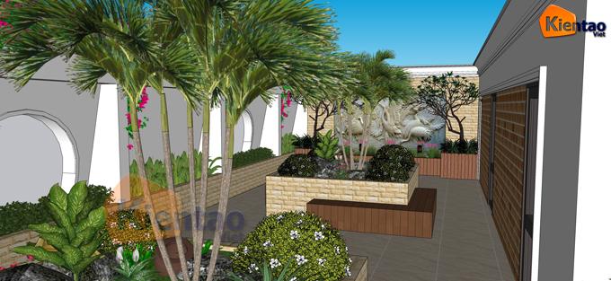 Mẫu vườn sân thượng 55m2 nhà ống lô góc - Phối cảnh 05