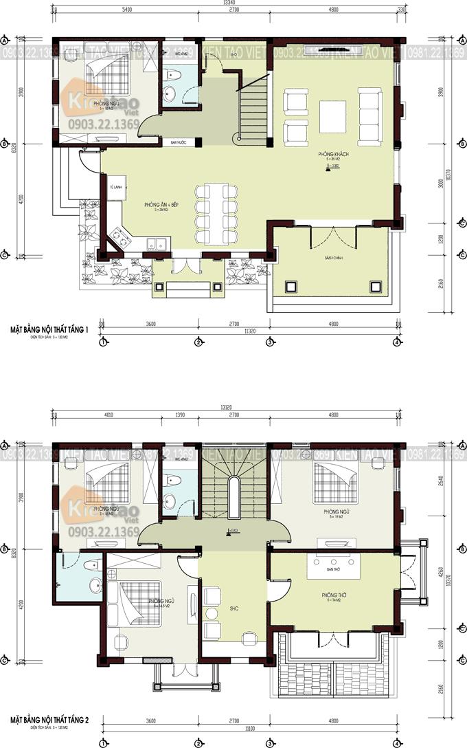 Mẫu biệt thự 2 tầng 140m2 phong cách tân cổ điển-mặt bằng