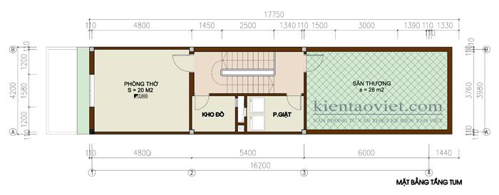 Mặt bằng tầng 5 - Mẫu nhà ống lệch tầng hiện đại 5x16m cao 5 tầng